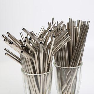 50pcs/lot Reusable Stainless Steel Straws Straight bending
