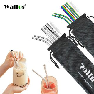 Set Reusable Christmas Stainless Steel Drinking Straws