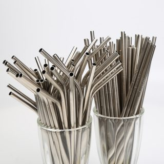 Drinking Straws With Cleaner Brush Metal Straw