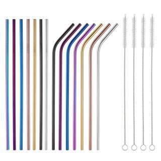 Colorful Stainless Steel Straws 8.5 Inch Rainbow Metal