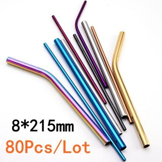 Stainless Steel Drinking Straight Bent Straws Eco-friendly