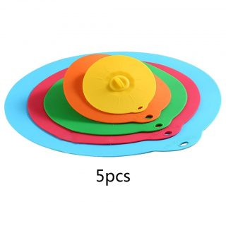 5pcs Reusable silicon stretch universal lid