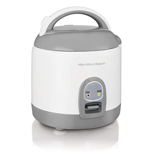 Hamilton Beach Mini Rice Cooker & Food Steamer, 8 Cups Cooked (4 Uncooked), With Steam & Rinse Basket, White (37508)