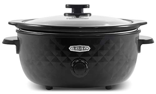 Elite Gourmet Maxi-Matic MST-1234 Diamond Pattern Slow Cooker Removable, Dishwasher-Safe Stoneware Pot with Tempered Glass Lid, Cool-Touch Handles, 6 Quart, Black