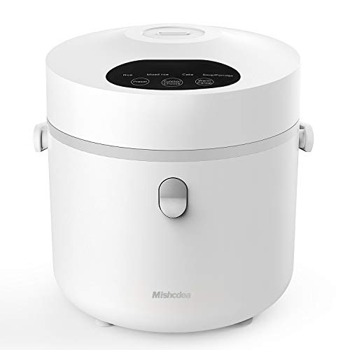 Mishcdea Small Rice Cooker, Personal Size Cooker, Multi Food Steamer, 24 Hours Preset,Portable Rice Cooker 3 Cups (Uncooked), White
