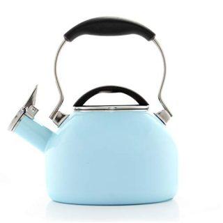 Chantal Oolong 1.8 quart Enamel on Steel Whistling Teakettle, Light Blue