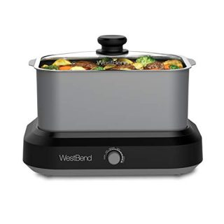 West Bend 87906 Large Capacity Non-Stick Versatility Slow Cooker with 5 Different Temperature Control Settings Dishwasher Safe Includes A Travel Lid & Thermal Carrying Case, 6-Quart, Silver