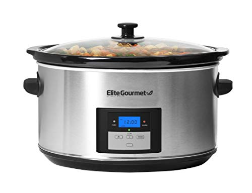 Elite Gourmet Digital Programmable Slow Cooker, Oval 3 Temperature Settings and Timer, 8.5 Quart, Stainless Steel