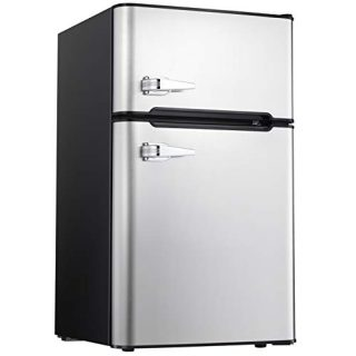 Compact Refrigerator Double Door Mini Fridge with Top Door Freezer
