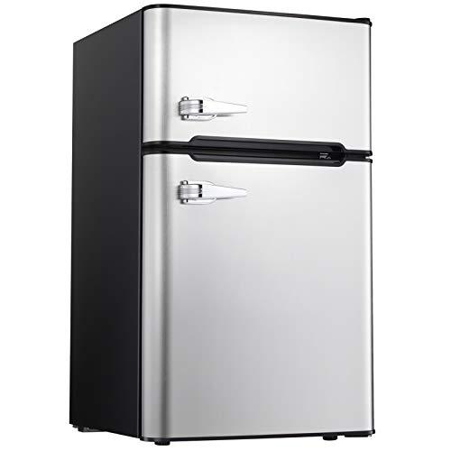 Compact Refrigerator Double Door Mini Fridge with Top Door Freezer