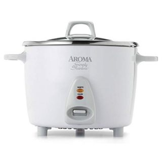 Aroma Housewares Select Rice Cooker Stainless Steel Inner Pot, 6-Cup(cooked) / 1.2Qt, ARC-753SG