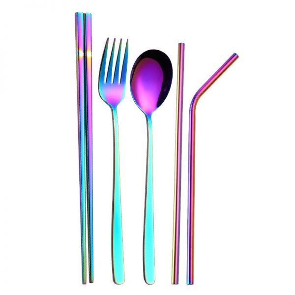 7pcs Metal Straw Spoon Chopsticks Set Reusable Straw