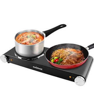 CUSIMAX 1800W Double Hot Plates, Cast Iron hot plates, Electric Cooktop, Hot Plates for Cooking Portable Electric Double Burner, Black Stainless Steel Countertop Burner, Easy to Clean-Upgraded Version