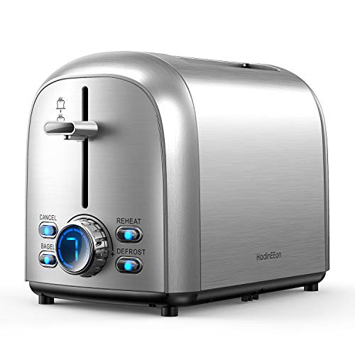 HadinEEon Toaster 2 Slice Stainless Steel Extra-Wide Slot Toaster with LED 7 Shade Settings, Bagel, Cancel, Defrost,and Reheat Function, 850W 120V, Silver