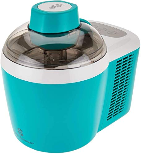 Cooks Essentials Ice Cream Maker Powerful 90W Motor Thermo Electric Self-Freezing System (Turquoise) (Renewed)