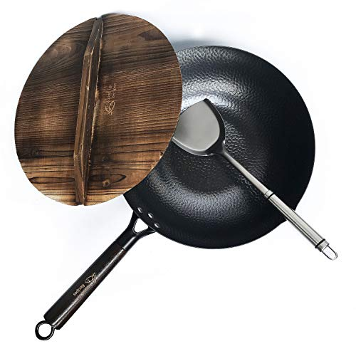 Carbon Steel Wok For Electric, Induction and Gas Stoves (Lid, Spatula and Seasoning Video Guide Included)