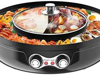 Kacsoo Electric Hot Pot Grill Indoor 2200W 2 in 1