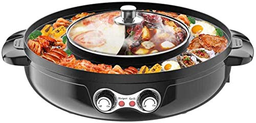 Indoor 2200W 2 in 1 Electric Smokeless Grill and Hot Pot