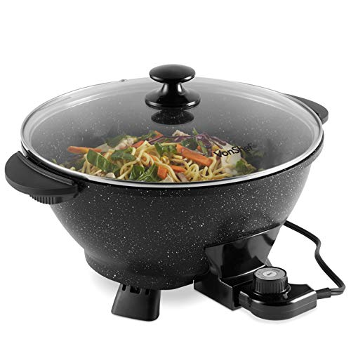 VonShef 7.4Qt Electric Wok with Lid – Adjustable Temperature Control – Cool Touch Handles – Non-Stick, Easy Clean Frying Pan - 14 Inch