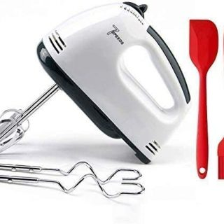 7 Speed Hand Mixer Electric with Turbo Handheld Kitchen Mixer Includes Beaters, Dough Hooks and Storage Case, Whisking Egg, White