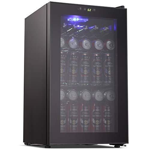 Refrigerator 85 Can Mini Fridge with Glass Door
