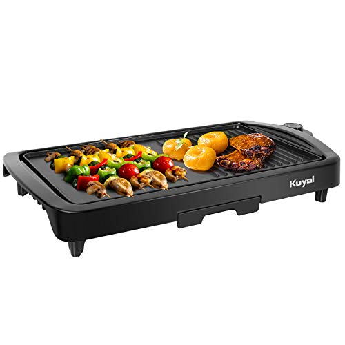 lectric Griddle 2-in-1 Indoor Grill Smokeless Coated Non-Stick