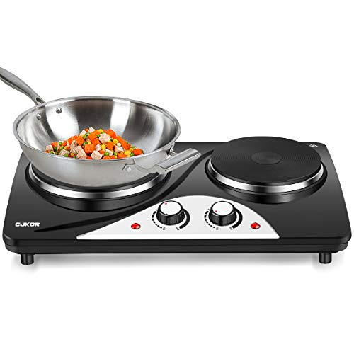 CUKOR Electric Hot Plate, 1800W Cast-Iron Countertop Burner, Dual Electric Burner, Portabel Double Burner for Cooking