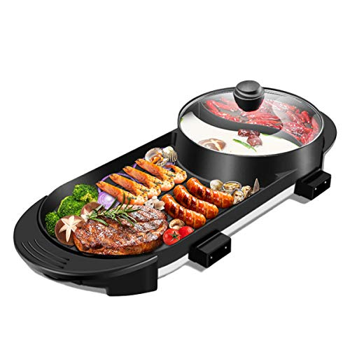 Electric Hot Pot Grill with Divider Separate Dual Temperature Control