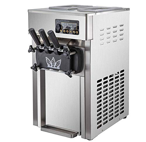 VBENLEM Commercial Soft Serve Ice Cream Maker 4.7Gallon Per Hour Countertop Stainless Steel 3 Flavors Perfect for Restaurants Snack Bar supermarkets, 4.7 Gallon, Silver