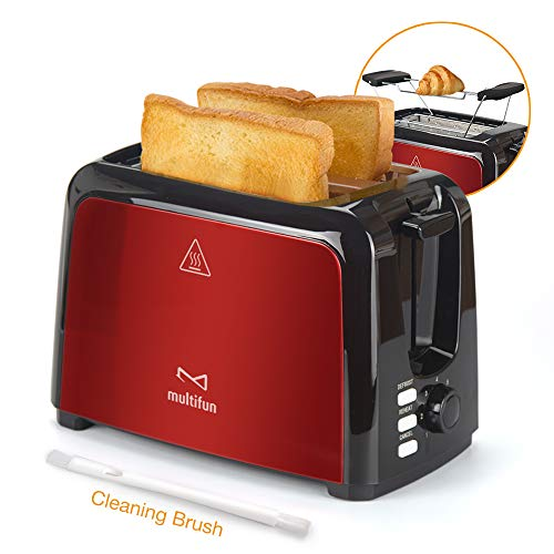 2 Slice Toaster, Multifun Stainless Steel Toaster with Warm Rack, Removable Crumb Tray, 7 Bread Shade Settings, Reheat/Cancel/Defrost Function, Extra Wilde Slot for Bagels, Waffle UL Certified -Red