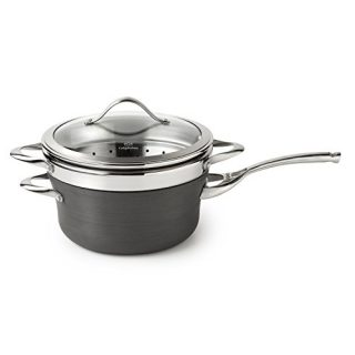 Calphalon Contemporary Hard-Anodized Aluminum Nonstick Cookware, Saucepan with Steamer Insert, 4 1/2-quart, Black