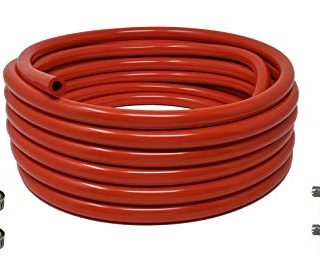 "Sealproof Red 5/16-Inch ID, 9/16-Inch OD Food Grade Tubing, 25 FT, CO2 Gas Line with 8 Hose Clamps, for Homebrewing, Kegerator, Draft Systems, Beer Air Hose, 1/4"" Wall Thickness - Made in USA"