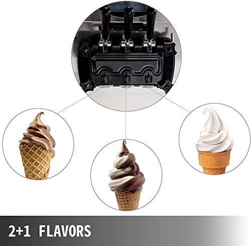 VEVOR 7.4Gallon Soft Ice Cream Machine 3 Flavors Pre-Cooling at Night Auto Clean LED Panel for Commercial Kitchen Equipment, Sliver