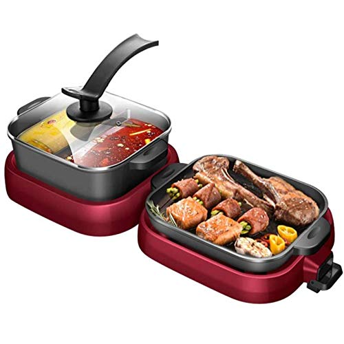 2-IN-1 Electric Grill & Hot Pot, Foldable Roasted Baking Pan Mandarin Dish Pot, Separately Dual Temperature Control BBQ and Smokeless Shabu-pot, for Indoor Outdoor Barbecue (2000W)