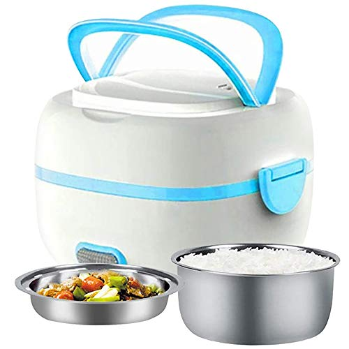 MoModer Electric Lunch Box, Multifunctional Rice Cooker Portable Food Warmer Heater Steamer with Removable Stainless Steel Bowls, Egg Steaming Tray, Spoon, Measuring Cup for Office, School, Travel