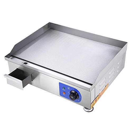 2500W Electric Countertop Griddle Stainless Steel Adjustable Temp