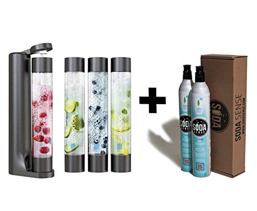 FIZZpod Soda Maker With TWO CO2 Cylinder- Fizzy Drink Machine with 3 PET Bottles, 3 Caps, 1 Carbonator Cap and Manual - Make Homemade Sparkle Water, Juice, Coffee, Tea and Cocktail Drinks with Fruit (Black)