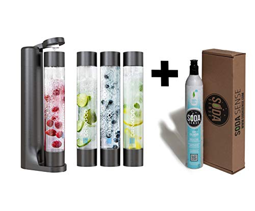 FIZZpod Soda Maker With CO2 Cylinder- Fizzy Drink Machine with 3 PET Bottles, 3 Caps, 1 Carbonator Cap and Manual - Make Homemade Sparkle Water, Juice, Coffee, Tea and Cocktail Drinks with Fruit (Black)