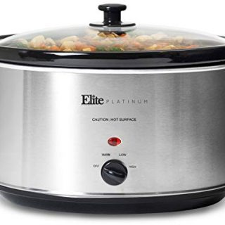 Elite Gourmet Stainless Steel Slow Cooker, Dishwasher-Safe with Tempered Glass Lid, Cool-Touch Handles, Removable Stoneware Pot, 8.5 Quart