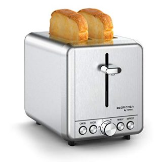 Toasters 2 Slice Best Rated Prime, whall Stainless Steel,Bagel Toaster - 6 Bread Shade Settings,Bagel/Defrost/Reheat/Cancel Function,1.5in Wide Slots,Removable Crumb Tray,for Various Bread Types (850W,Sliver)