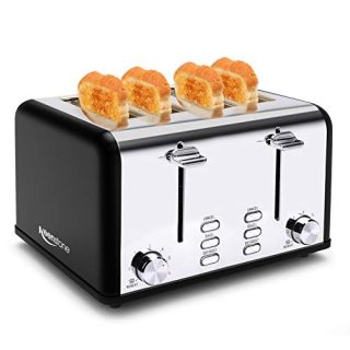 4 Slice Toaster, Keenstone Stainless Steel Retro Toasters with 1.5'' Wide Slot, Bagel/Defrost/Reheat/Cancel Fuction, 6 Shade Settings, Removable Crumb Tray, Black
