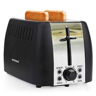 prepAmeal 2 Slice Toaster Stainless Steel Toaster Two Slice Bagel Toaster Small Bake Toaster with 6 Browning Setting, Reheat, Defrost, Bagel, Cancel Function, Extra Wide Slots (Black - 2 Slice)