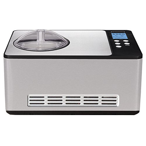 Whynter ICM-200LS Automatic Ice Cream Maker 2 Quart Capacity Stainless Steel with Built-in Compressor, no pre-freezing, LCD Digital Display, Timer, 2.1