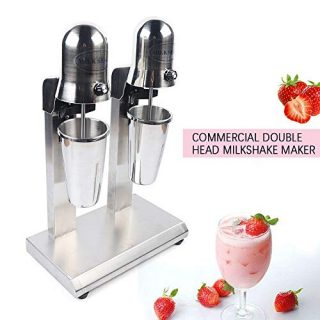 Double Head Milkshake Machine Stainless Steel Mixing Cup Drink Mixer 110V 60Hz Ice Cream Maker Milkshake Juicers for Milk, Ice Cubes Suitable in Commercial or Family