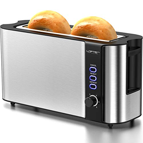 Long Slot Toaster, 2 Slice Toaster Best Rated Prime with Warming Rack, 1.7'' Extra Wide Slots Stainless Steel Bread Toasters, 6 Bread Shade Settings, Defrost/Reheat/Cancel Function, Removable Crumb Tray, 1000W, Silver