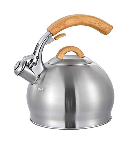 Water Kettle For Stovetop, Real Wood Cool Handle
