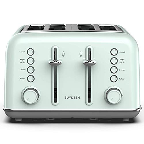 BUYDEEM DT-6B83 4-Slice Toaster, Extra Wide Slots, Retro Stainless Steel with High Lift Lever, Bagel and Muffin Function, Removal Crumb Tray, 7-Shade Settings (Light Teal)