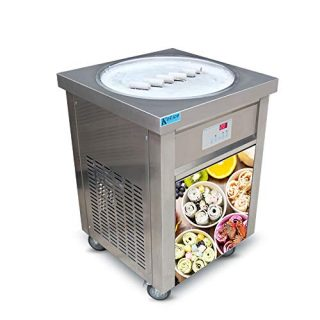 US Snack Food Machine ETL 110V 55cm Single Round ice pan Fry ice Cream Machine Fried ice Cream Machine roll ice Cream Machine ice Cream roll Machine for Bars, Cafes, ice Cream Store