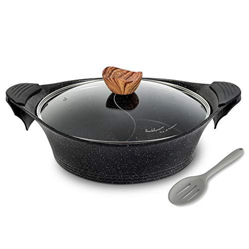 Shabu Shabu Pot with Lid Non-Stick Casserole Induction Shabu Shabu Hot Pot with Divider, 11.8 Inch, 4.5L, 5.64lb - Black