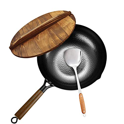 Carbon Steel Wok, Stir Fry Pan Flat Bottom Pan, Iron Wok with lid, for Electric Stove, Induction Cooker and Gas Stove(12.5 Inch)